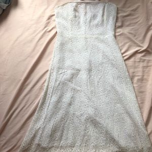 Ivory Floral Lace Strapless Maxi Dress